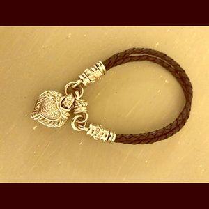Judith Ripka Black Cord Heart Bracelet